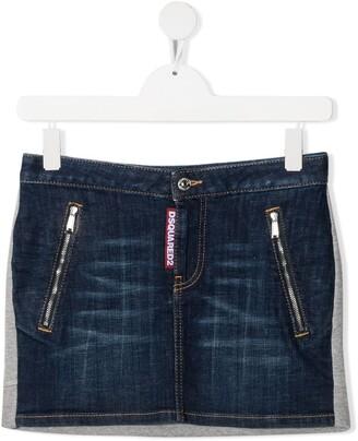 DSQUARED2 TEEN dark wash denim skirt