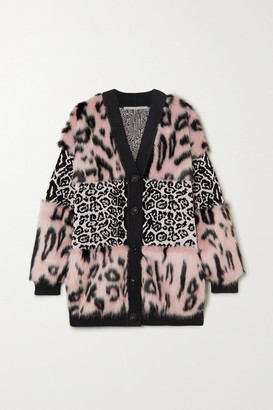 Stella McCartney Faux Fur And Leopard-intarsia Knitted Cardigan - Pink