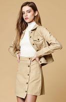 MinkPink Sandstorm Button Front Denim Mini Skirt