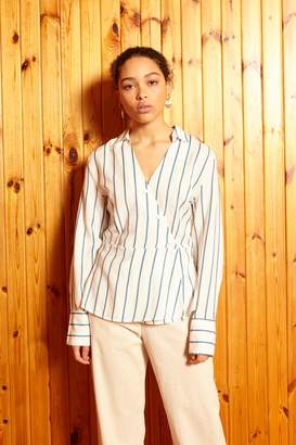 Designers Society - Mary-Louise brown striped crossover blouse - xs | cotton | white | brown striped - White/White