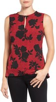 Ellen Tracy Petite Women's Peplum Back Keyhole Shell