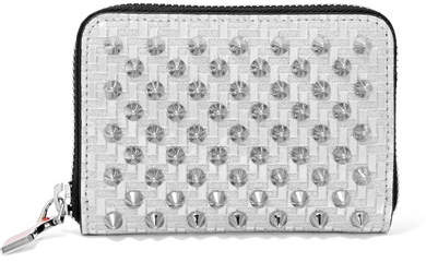 Christian Louboutin Panettone Spiked Glittered Metallic Leather Wallet - Silver