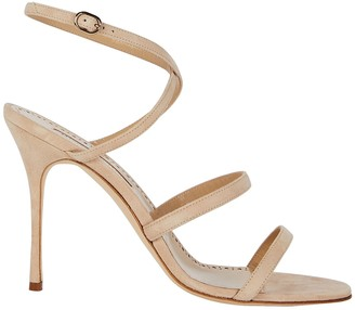 Manolo Blahnik Bacca Suede Strappy Sandals