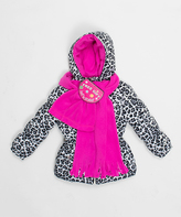 Pink Platinum White Cheetah Puffer Jacket Set - Toddler & Girls