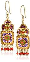 Miguel Ases Small Floral Framed Square Round Wrapped Dangle Multi-Drop Earrings