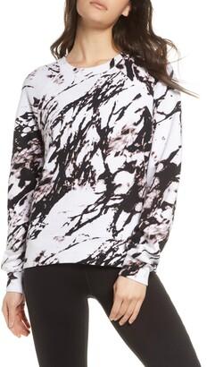Zella Jamie Ink Print Crewneck Sweatshirt
