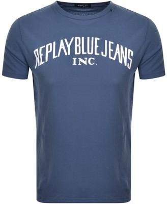 Replay Crew Neck Logo T Shirt Blue