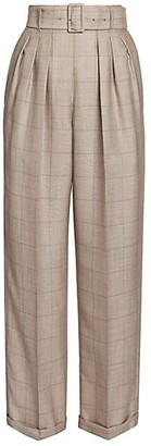 Agnona Plaid Pleated Wool-Blend Pants