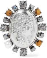 Oscar de la Renta Convertible silver-tone, crystal and faux pearl brooch