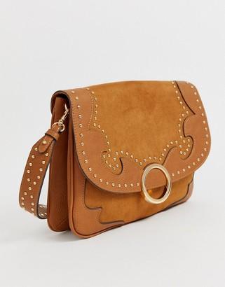 Aldo Praleng western shoulder bag with detachable crossbody strap in tan