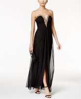 Betsy & Adam B&A by Strapless Embellished Gown