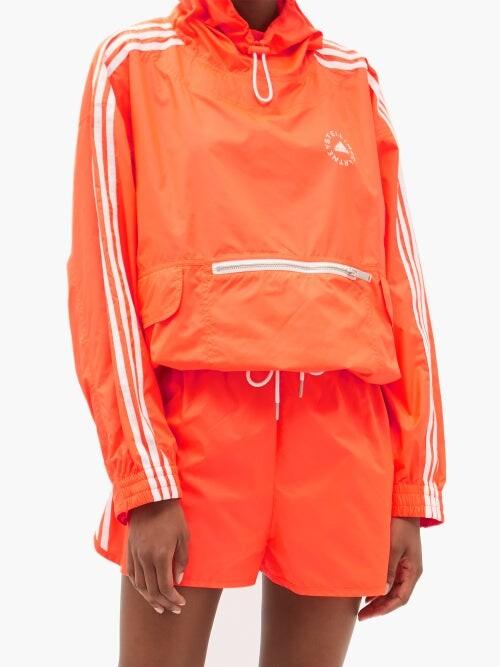 Thumbnail for your product : Stella McCartney X Adidas Josie Side-stripe Shell Shorts - Orange