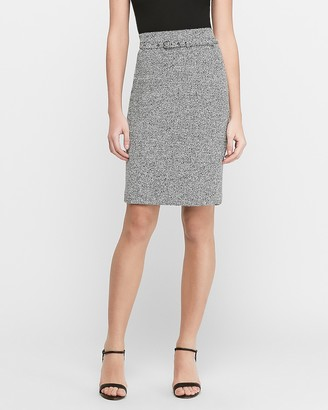 Express High Waisted Jacquard Belted Pencil Skirt
