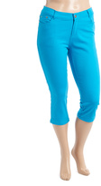 Turquoise Twill Capri Pants - Plus