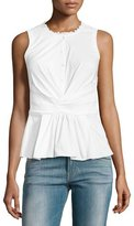 Rebecca Taylor Sleeveless Poplin Crossover Top, White