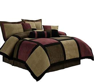 Chezmoi Collection Micro Suede Patchwork 7-Piece Comforter Set