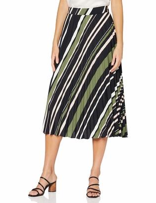 Dorothy Perkins Women's Black Stripe Print Pleated Midi Skirt 16