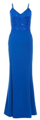 Dorothy Perkins Womens *Quiz Blue Sequin And Lace Strappy Dress, Blue