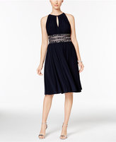 R & M Richards Embellished Gathered Keyhole Dress