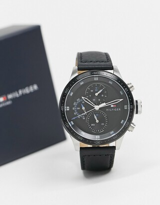 Tommy Hilfiger leather watch in black 1791810