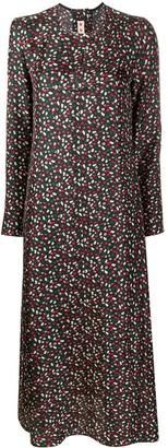 Marni Long-Sleeved Floral Print Midi Dress