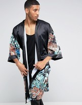 Jaded London Kimono With Floral Tiger Print