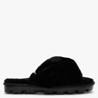 UGG Fuzzette Black Shearling Cross Over Slippers