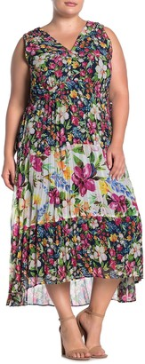 Taylor Floral Print Pleated High/Low Chiffon Maxi Dress (Plus Size)