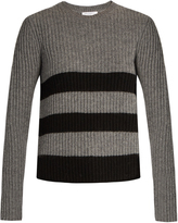 Equipment Carson striped-intarsia ribbed-knit sweater