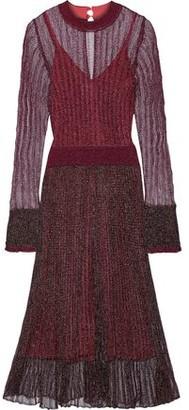 Herve Leger Ruffle-trimmed Metallic Crochet-knit Midi Dress
