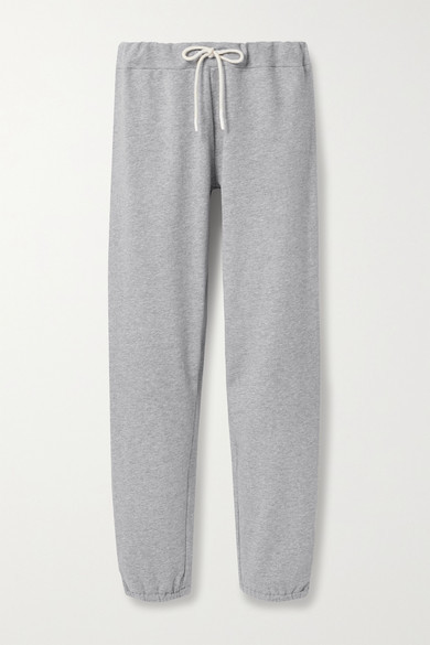 Tory Sport French Cotton-blend Terry Track Pants - Light gray