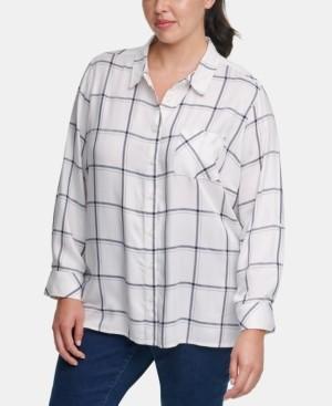 Tommy Hilfiger Plus Size Windowpane-Print Roll-Tab Shirt