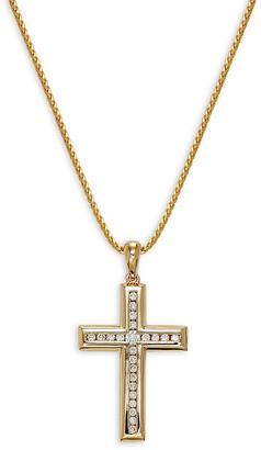 Effy 14K Yellow Gold Diamond Cross Pendant Necklace