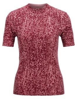 HUGO BOSS Short Sleeved Knitted Sweater In Over Printed Merino Wool - Patterned