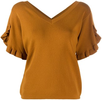 See by Chloe ruffle trim knitted T-shirt