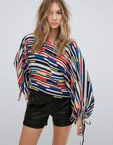 Traffic People Boat Neck Multi Strip Top