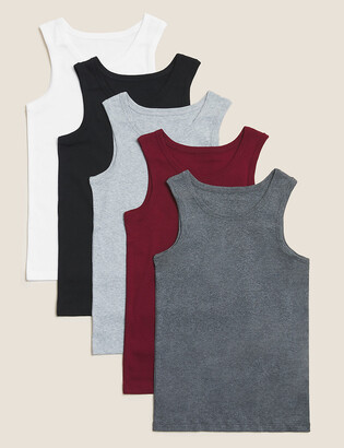 Marks and Spencer 5 Pack Cotton Vests (2-16 Yrs)