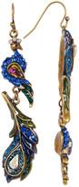 Betsey Johnson Rhinestone Peacock Feather Drop Earrings