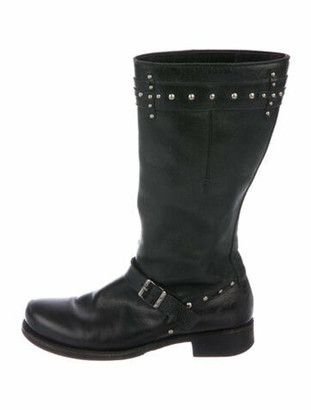CNC Costume National Leather Studded Accents Moto Boots Black