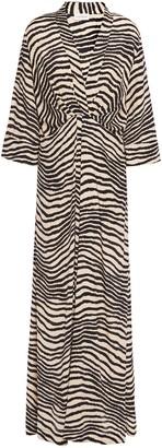 By Malene Birger Pleated Zebra-print Crepe De Chine Maxi Dress