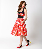 Unique Vintage 1950s Style Red & White Polka Dot Ashley Halter Swing Dress