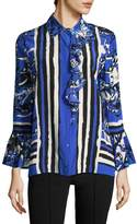 Roberto Cavalli Women's Ruffled Cuff Striped Blouse