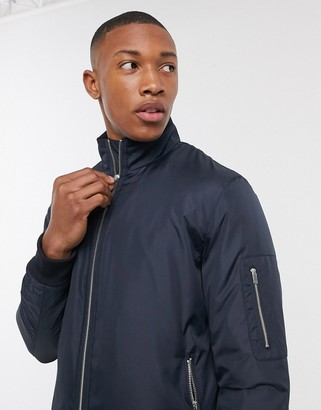 Selected padded bomber jacket in navy