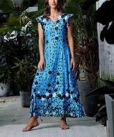 Reborn Collection Women's Maxi Dresses Light - Light Blue & Black Floral Dot Ruffle Cap-Sleeve Maxi Dress - Women & Plus
