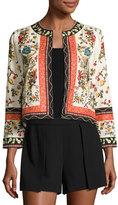 Alice + Olivia Esme Embroidered Cropped Jacket, Multicolor
