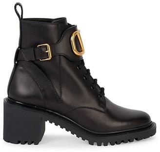 Valentino V Logo Signature Leather Combat Boots