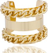 JOTW Goldtone Alternating Layered Chain Design Cuff Bangle Bracelet