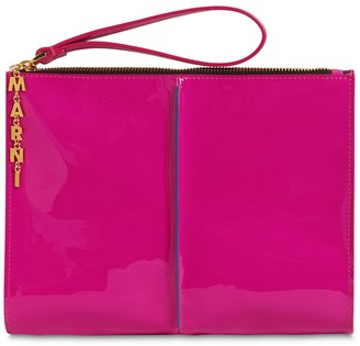 Marni Small Attache Patent Leather Pouch