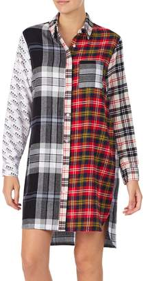 DKNY Sleepwear Long-Sleeve Cotton Blend Flannel Sleepshirt