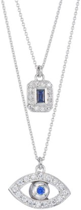Renee Lewis 18K White Gold, Sapphire & Diamond Evil Eye Double-Layer Pendant Necklace